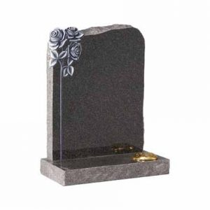 EC71-Dark-Grey-granite-with-carved-and-highlighted-roses-and-pitched-edges-cj-ball-memorials