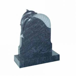 EC73-Bahama-Blue-granite-with-carved-dolphin-on-a-wave-cj-ball-memorials