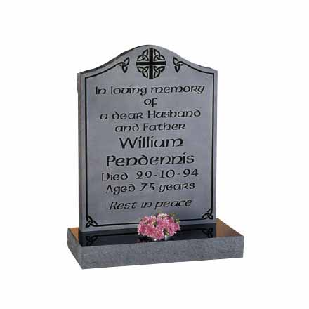 Black granite headstone with engraved background