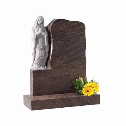 Red granite headstone with carved 'Our Lady' praying figure