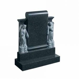 Grey granite headstone with carved angel figures