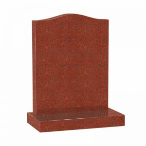 Red granite ogee headstone memorial by CJ Ball