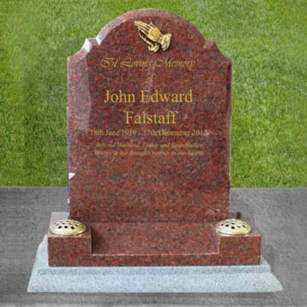 CJ Ball memorials wales gravestone grave stone memorial vase set cremation burial